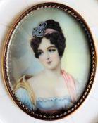 Antique Miniature Portrait Georgian Aristocratic Lady