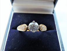 Sterling Silver Gilt Ring Set with White Stones