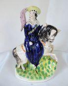 Antique Staffordshire Pottery Queen Victoria on Horseback Figurine