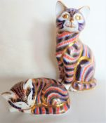 Royal Crown Derby Cat & Sleeping Kitten Paperweights Gold Stoppers