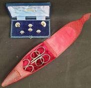 Antiques Costume Jewellery Boxed Shirt Studs and Scissor Case