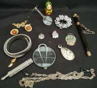 Vintage Costume Jewellery Includes Chains Cufflinks & Looking Glass