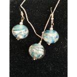 Vintage Sterling Silver Chain Pendant & Earrings