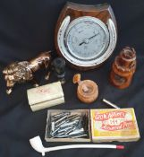 Vintage Parcel of Items Includes Horse Shoe Barometer