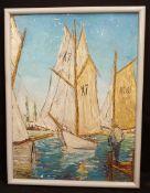 Vintage Art Framed Oil On Board Yachts Possible Regatta Signed Lower Left CWL