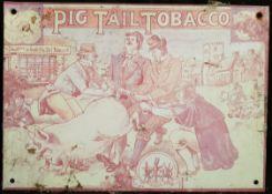 Vintage Retro Pig Tail Tobacco Metal Advertising Shop Sign