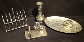 Vintage Assorted Plated Metal Ware Items Includes Horse Letter Rack Toast Rack etc