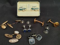 Vintage Costume Jewellery Cuff Links Includes Stratton Mini Cooper & 9ct Gold Cuff Links