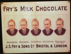 Vintage Retro Metal Fry's Chocolate Shop Advertising Sign