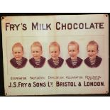 Vintage Retro Metal Fry's Chocolate Shop Advertising Sign