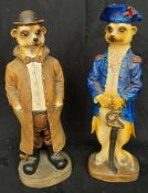 Vintage 2 x Resin Meerkat Figures 13 Inches Tall