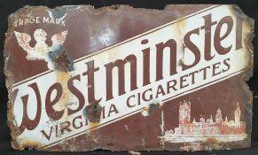 Vintage Enamelled Metal Westminster Cigarette Shop Wall Advertising Sign