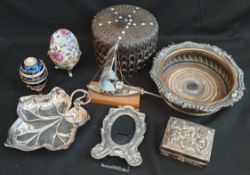 Antique & Vintage Parcel of Collectables Includes Plated Wine Coaster WMF and Chinese Brass Box