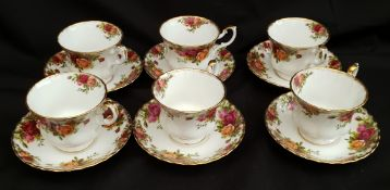 Vintage Royal Albert Old Country Rose 6 Tea Cups & Saucers
