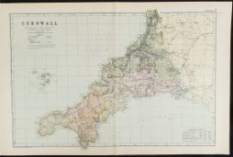 Antique Map Cornwall 1899 G. W Bacon & Co.