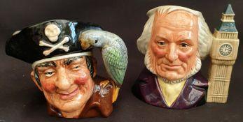 Vintage Pair of Royal Doulton Character Jugs Long John Silver & John Doulton