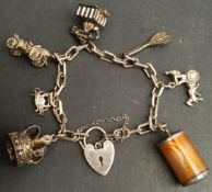 Vintage Sterling Silver Charm Bracelet Includes 8 Charms