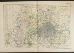 Antiques Map Middlesex 1899 G. W Bacon & Co.