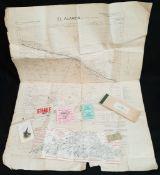 Antique WWII SHAEF Pass RENE Military El Alamein Map 1942 & Other Ephemera