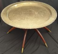 Vintage 1960's Chinese Spider Leg Table With Brass Tray Top