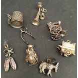 Vintage Parcel of 8 Silver Charms Includes Donkey Owl Ballet Shoes etc.