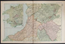 Antiques Map Wales Central 1899 G. W Bacon & Co.