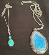 Vintage Costume Jewellery 2 x Sterling Silver Necklaces With Pendants