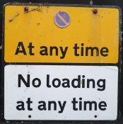 Vintage Retro Metal No Parking & No Loading Road Sign