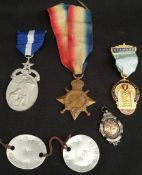Parcel of Medals Includes WWI 1914 - 15 Star Dog Tags Rugby Medal & Masonic