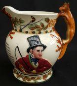 Antique Crown Devon Fielding Fox Handle Musical Water Jug John Peel
