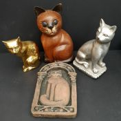 Vintage Parcel of 4 Cat Ornaments Wood Brass and Ceramic