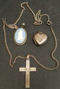 Vintage Sterling Silver Cross & Chain Plus Wedgwood Pendant & Silver Locket