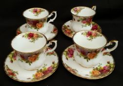 Vintage Royal Albert Old Country Rose 4 Coffee Cans & Saucers