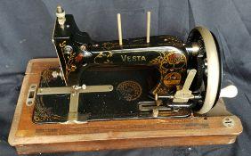Antique Vesta Sewing Machine In Original Case