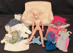 Vintage Sindy Doll Items Includes Clothes Hangers Settee etc. c1970's