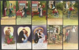 Antique Military WWI Ten Postcards Bamforth