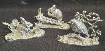 Vintage 3 x Cast Metal Animal Figures