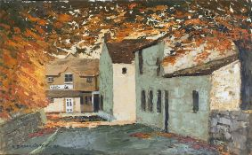 Collectable Art Oil Painting on Board Village Scene. Signed Oates