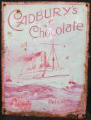 Vintage Retro Metal Cadbury's Chocolate Shop Wall Advertising Sign