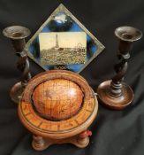 Vintage Barley Twist Candle Sticks Globe & Picture Frame