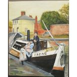 Vintage Art Painting Oil On Canvas Family Barge Northgate Chester Signed Lower Left