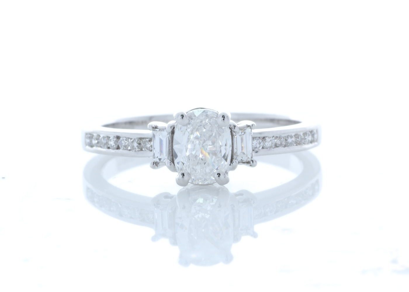 18ct White Gold Stone Set Shoulders Diamond Ring 0.74 Carats