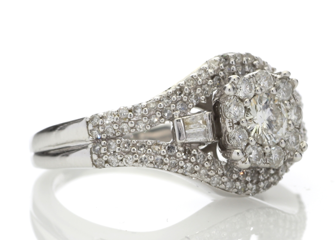 Lot 54 - 9ct White Gold Round Cluster Claw Set Diamond Ring 1.00 Carats