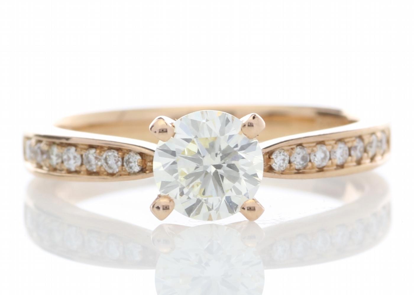 Lot 11 - 18ct Rose Gold Stone Set Shoulders Diamond Ring 0.84 Carats