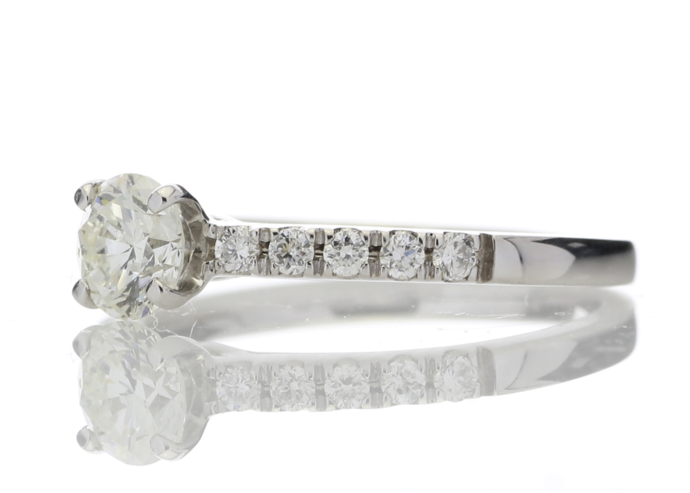 Lot 17 - 18ct Stone Set Shoulders Diamond Ring 0.69 Carats