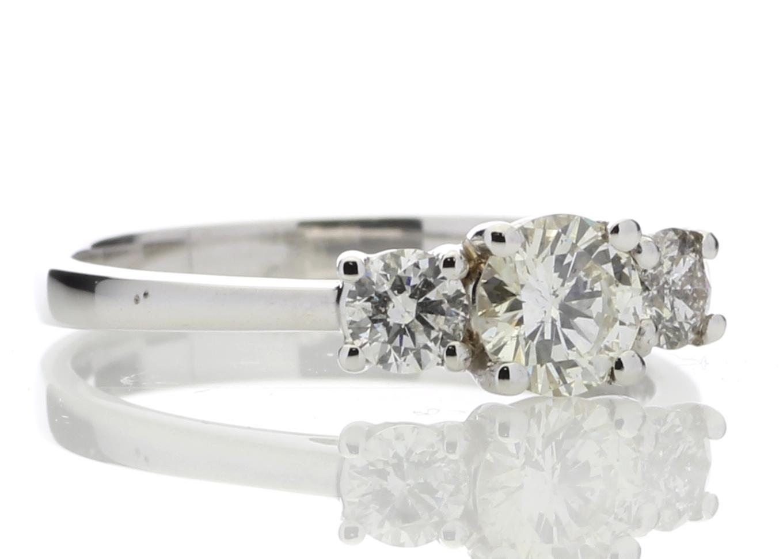 Lot 35 - 18ct White Gold Three Stone Claw Set Diamond Ring 0.77 Carats