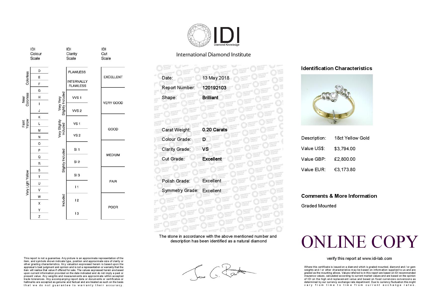Lot 7 - 18ct Two Stone Rub Over Set Diamond Ring 0.20 Carats
