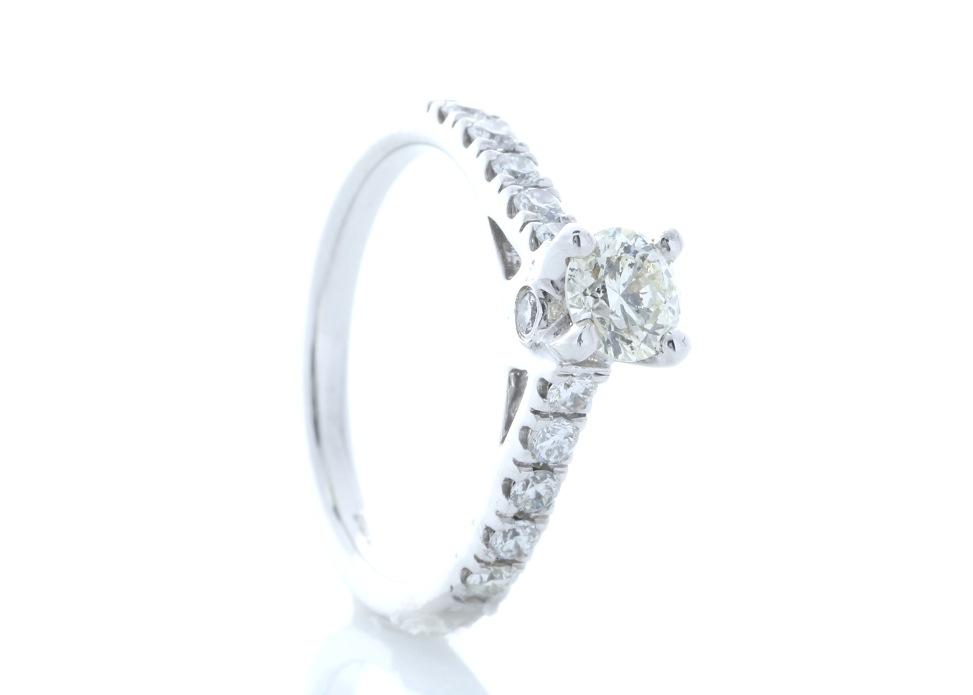 Lot 25 - 18ct White Gold Stone Set Shoulders Diamond Ring 0.91 Carats