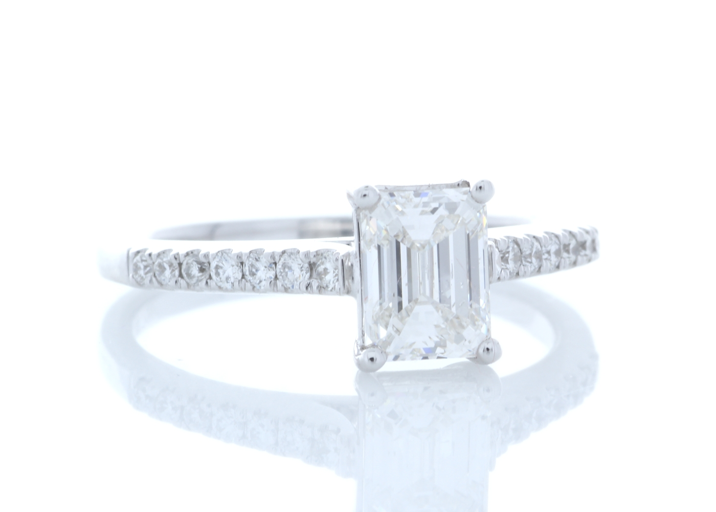 18ct White Gold Stone Set Shoulders Diamond Ring 1.19 Carats - Image 4 of 5