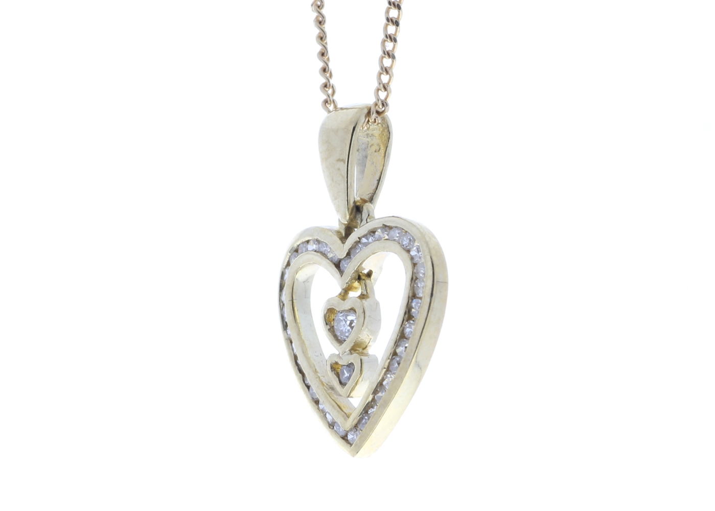 9ct Yellow Gold Heart Pendant 0.21 Carats - Image 4 of 5